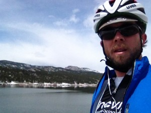 "Taking a quick ""pit stop"" at Carter Lake before the big descent."