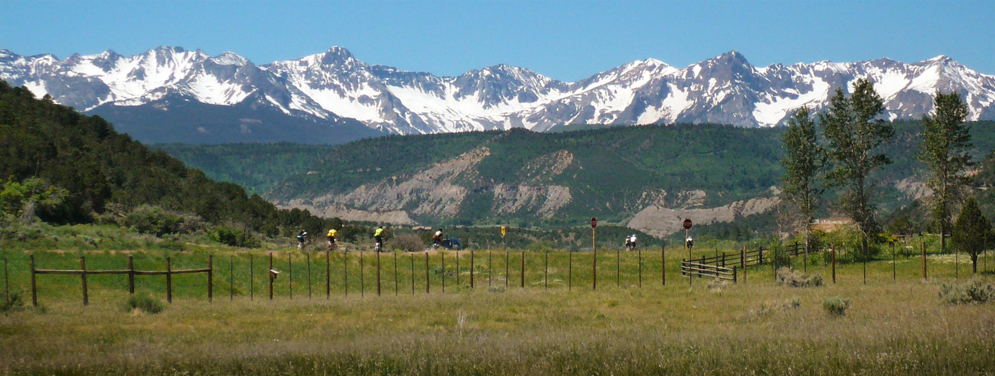 Cyclists approach Ouray during the 2010 Ride The Rockies.