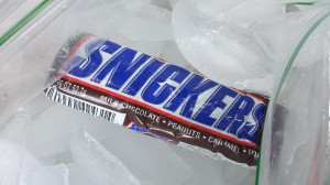 Nothing motivates a cyclist as much as a Snickers Bar. Simple pleasures, for sure.