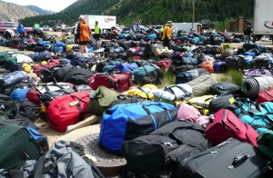 A sea of bags await weary riders, so remember -- the lighter the load, the better your afternoons in camp will be.