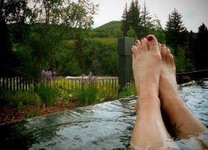 My feet, resting on the edge of my hotel's infinity jacuzzi outside Avon, CO during the 2011 Ride The Rockies. Sigh.