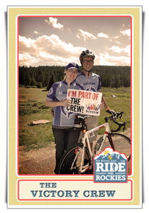 """2014 Peak Pedalers """"Victory Crew"""", from Cleveland, OH. Victory Crew rode for the Davis Phinney Foundation for Parkinson's with her husband Doug, who was diagnosed with Parkinson's disease over ten years ago."""