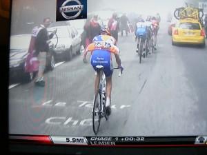 Gasper captured on Versus TV wearing a Crimson Tide Flag with Diablo, Tour de France