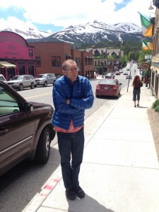 (2pm in Breckenridge. The heat of the day and he's still cold!)
