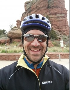 Bundled up for an early spring ride at Red Rocks.